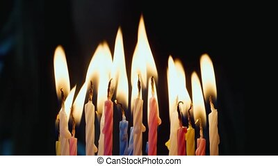Holiday blow out the candles on the cake