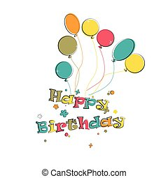 Phase happy birthday with balloons on the white background