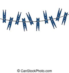 Blue cartoon clothespins on the white background