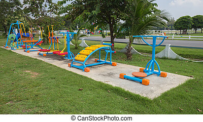 Exercise equipment in the public park