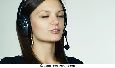 Female call center operator on white background