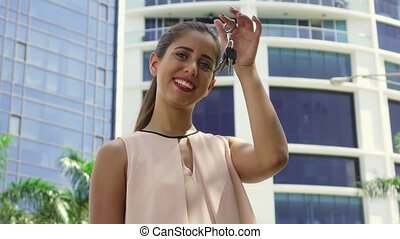 4 Portrait Of New House Owner Holding Apartment Keys -...