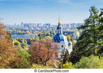 View of the Vydubychi Monastery autumn
