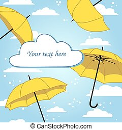 card with umbrella and rain