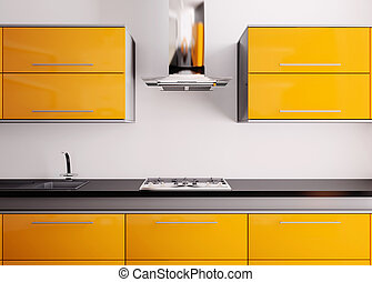 Orange kitchen 3d - Orange kitchen with sink,gas cooktop and...