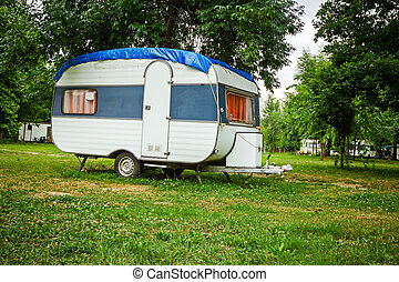 Mobile home at camping place.