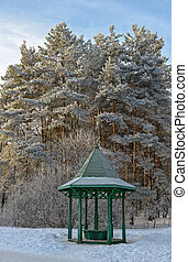 Wooden arbour in winter garden - Trees and wooden arbour...