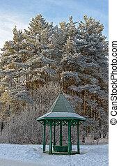 Wooden arbour in winter garden - Trees and wooden arbour...