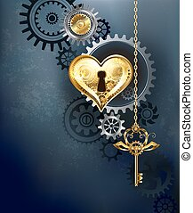Mechanical heart with key - mechanical heart with gears and...