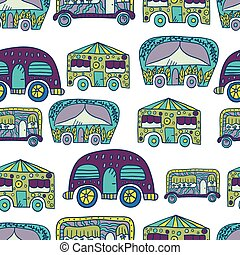 Seamless pattern with doodle recreational vechicles-2