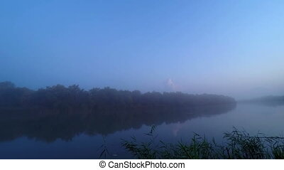 Sunrise in Fog on River Water - Sunrise Reflection in Mist...