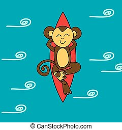 Funny brown monkey is surfing in the ocean