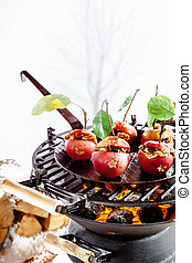 Delicious red stuffed apples on the grill - Delicious red...