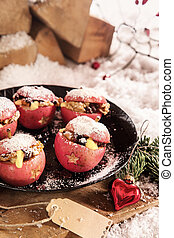 Vegetarian festive food for Christmas with delicious baked...