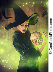 hellcat with skull - Frightening witch girl in medieval...