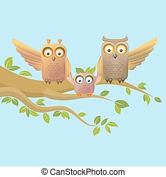 Owl happy family