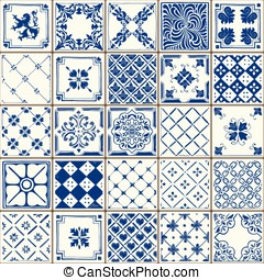 Traditional Ceramic 02 Vintage 2D - Indigo Blue Tiles Floor...