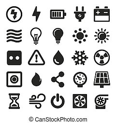 Electric Icons Set on White Background Vector illustration