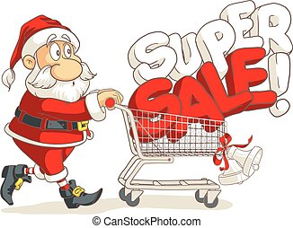 Santa Claus Super Sale Vector Cartoon - Vector of Santa...