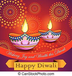 Happy Diwali background with diya and firecracker -...