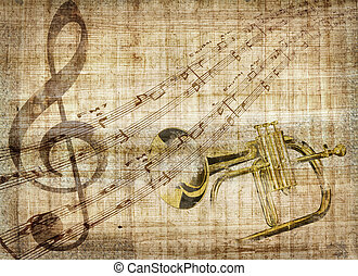 Music background - An illustration about musical signs with...