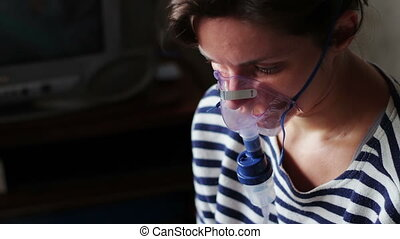 Procedure Inhalation of Woman. - The girl with the disease...