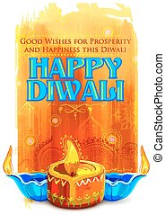 Happy Diwali background with coloful watercolor diya -...