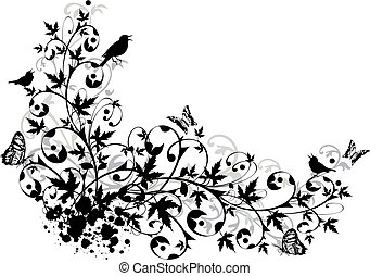 abstract floral border - vector background