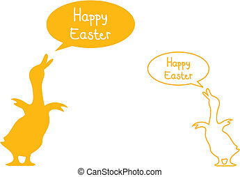 easter card - happy easter with yellow ducks, vector
