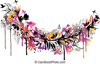 floral background - exotic floral background with birds and...