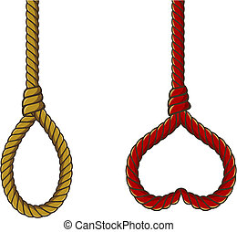 fiber rope - vector gallows and heart shaped red noose