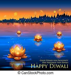 Golden lotus shaped diya floating on river in Diwali background