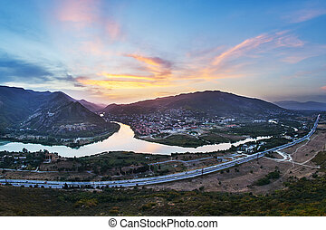 Confluence of Kura and Aragvi rivers in Georgia - Confluence...