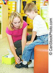 Pojke, kvinna, inköp, tillverkning