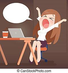 Yawn - Young business woman yawn