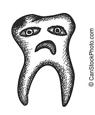 doodle rotten tooth, vector illustration icon
