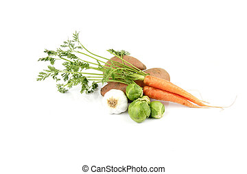 Sweet Potatoes with Garlic, Sprouts and Carrots