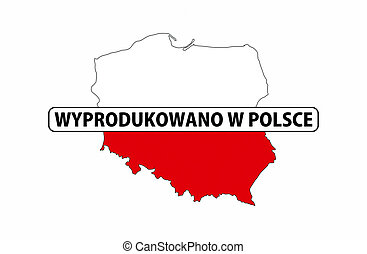 made in poland country national flag map shape with text