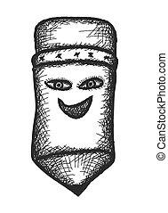 doodle comic happy pencil, vector