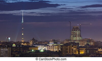 Ostankino Communication Tower in Moscow timelapse at night....