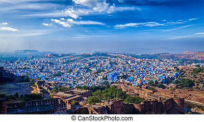 Panorama of Jodhpur Blue City. Rajasthan, India - Aerial...