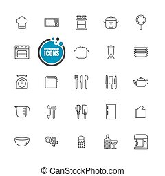 kitchenware icons line set
