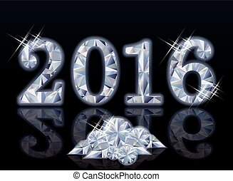 Happy diamond new year 2016. vector illustration