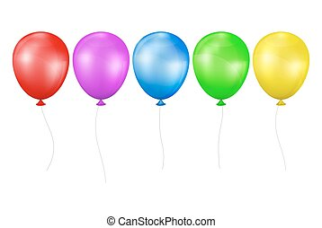 Set of multicolored balloons - Multicolored balloons. Set on...