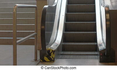 Train Station Escalators - Close up of moving escalator...