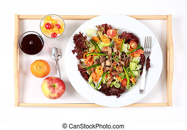 Healthy meal - Vegetarian menu with big salad, yogurt with...