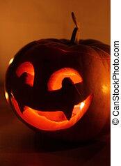 恐い, 蝋燭, ハロウィーン, 暗い, 背景, カボチャ