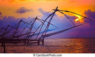 Chinese fishnets on sunset. Kochi, Kerala, India - Panorama...