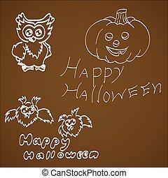 Set Of Halloween on a dark background.