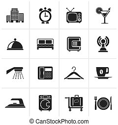 Black Hotel, motel and travel icons